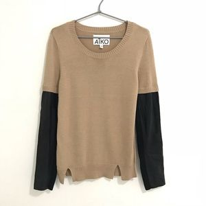 Aiko Tan Sweater Leather Sleeves
